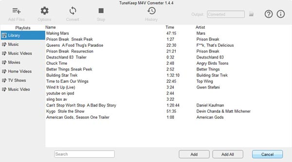 iTunes M4V Videos Library